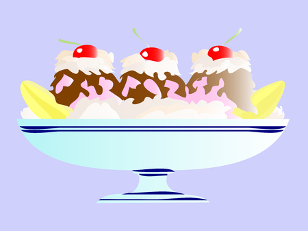 Ice cream banana split in cartoon illustration.