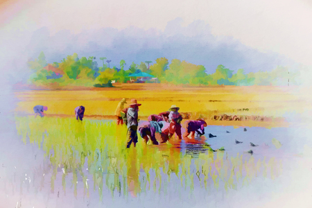 Digital painting farmers planting rice on rice fields Stock Photo