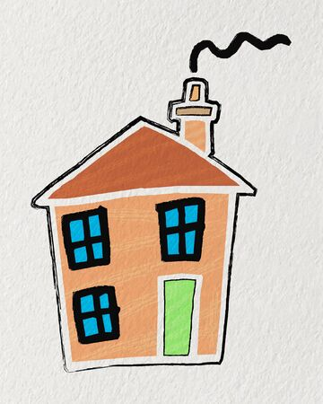 Vector illustration Easy Drawings for Kids, Cute Cartoon house with chimney painting with crayon on texture paper,kid drawing style  Ilustracja