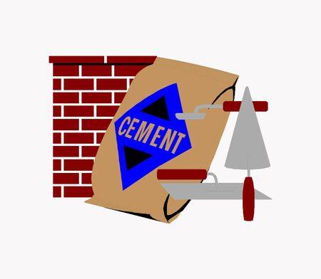 Vector illustration cartoon Brick wall construction equipment drawing and painting on white background