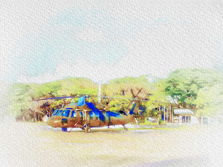 Digital painting , Illustration  Military helicopters landing in a field