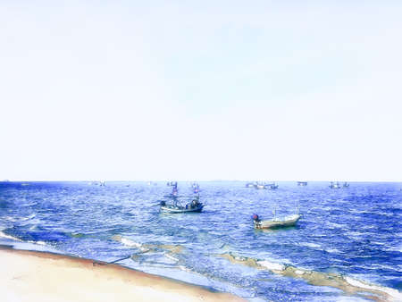 Digital painting , Illustration Small fishing boat by the sea