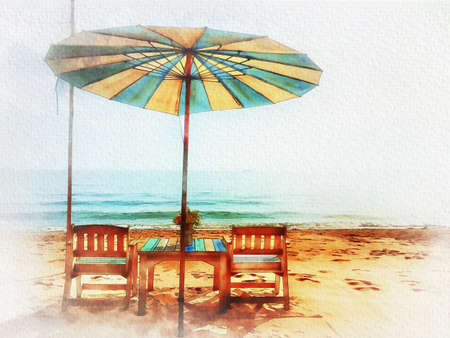 Digital painting , Illustration Chairs and umbrellas on the beach Stok Fotoğraf