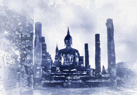 Digital painting , Illustration Buddha in Sukhothai Historical Park