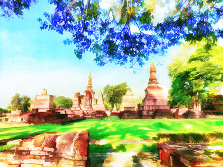 Digital painting , Illustration Pagoda in Sukhothai Historical Park Standard-Bild