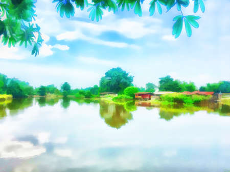 Digital painting , Illustration Waterfront rural villages in Thailand