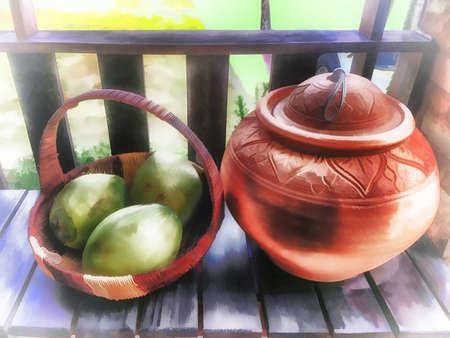 Digital painting , Illustration Basket fruit and jar traditional of asia