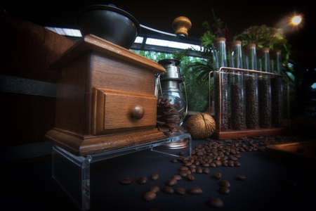 Decorations on the coffee shop  Antique coffee grinder coffee bean vintage style