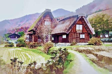 Digital painting , Illustration Shirakawago, an ancient farmer's village