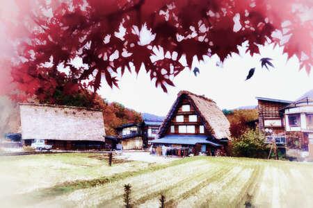Digital painting , Illustration Shirakawago, an ancient farmer's village, rice fields Standard-Bild
