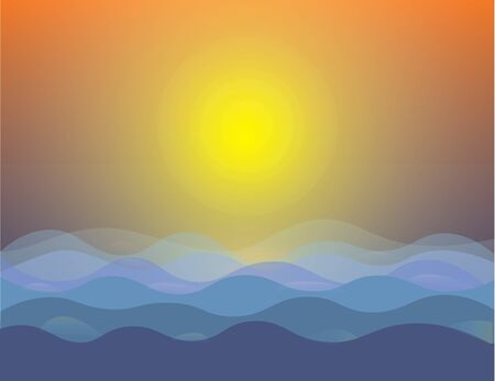 Vector - Illustration of abstract sunset sea landscape background