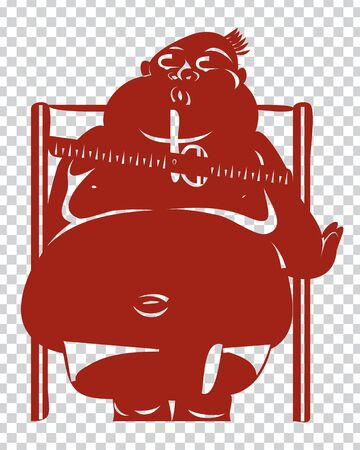 Vector - Illustration of Cartoon fat man weighing on Traditional weight scale,stencil style