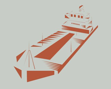 Vector - Illustration of  Container Cargo Freighter Ship   , woodcut style Standard-Bild - 142926064