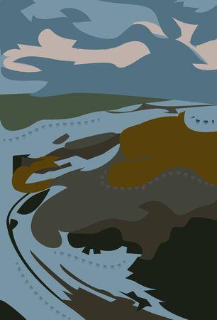 Vector - Illustration of  Meandering river 일러스트