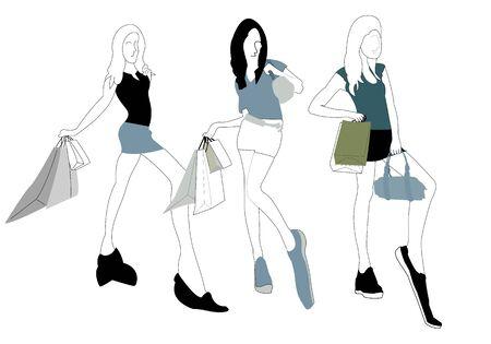 Vector - Illustration of Shopping girl
