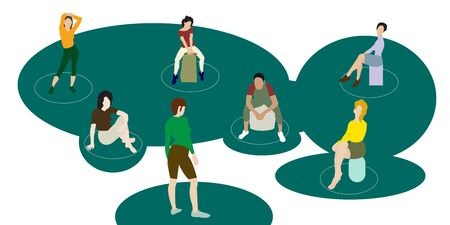 Vector - Illustration of Social distancing in the training exercise Illustration