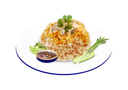 Vector - Illustration of Chicken Fried Rice with vegetable