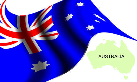 Vector -  Illustration of  Flag and Map of Australia Illustration