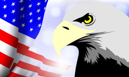 Vector -  Illustration of  United States of America flag with Eagle Illustration