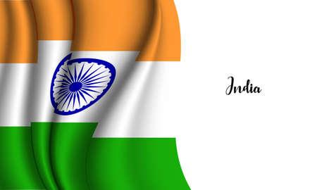 Vector -  Illustration of India flag on white background