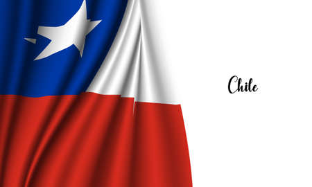 Vector -  Illustration of Chile flag on withe background