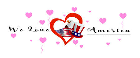 Vector banner with calligraphic lettering we love America with  national flag of United States of America. America symbol  inside of the heart Illustration