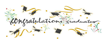 Vector -  Illustration of Congratulations graduates handwritten typography lettering text with element on background banner