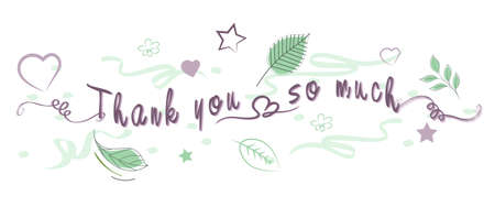 Vector -  Illustration of Thank You handwritten lettering tipography with element
