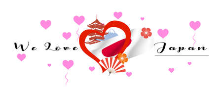 Vector banner with calligraphic lettering we love Japan with  national flag of Japan. Japan symbol  inside of the heart