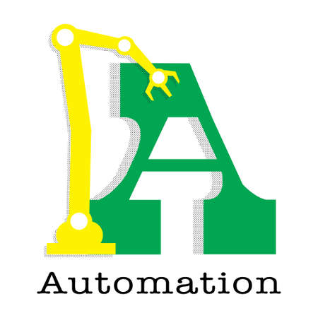 vector Letter A with robot arm for word Automation