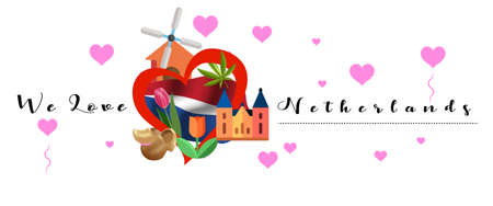 Vector banner with calligraphic lettering we love Netherlands with  national flag of Netherlands. Netherlands symbol  inside of the heart