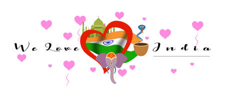 Vector banner with calligraphic lettering we love India with  national flag of India. India symbol  inside of the heart Illustration