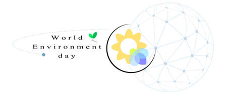 Vector banner  lettering World environment day with  ecology symbol and Globe graphic Illustration