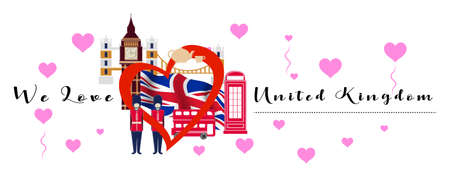 Vector banner with calligraphic lettering we love  United Kingdom with  national flag of United Kingdom. United Kingdom  symbol  inside of the heart