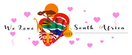 Vector banner with calligraphic lettering we love  South Africa with  national flag of South Africa. South Africa symbol  inside of the heart Illustration