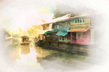 Digital watercolor painting of  landscape image of Old village by the canal in Bangkok on canvas