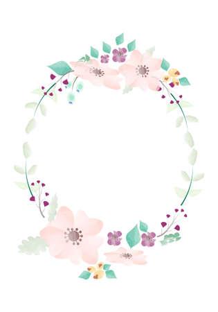 Watercolor pink and green flower wreath illustration, Wedding invitation Floral design Wreath Flower on white  background Illustration