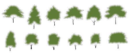 vector illustrations Set of icons big green tree