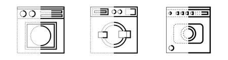 Vector illustrations set of icons Washing machine Illustration