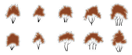vector illustrations Set of icons Autumn trees