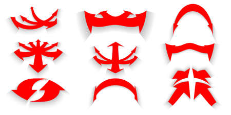 Vector illustrtions Set of icons red Curved arrow with shadow Illustration