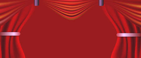 vector illustration Red  curtain and red banner background