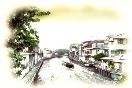 Digital painting Canal Mass Transit Boat in old town Bangkok, Thailand 免版税图像