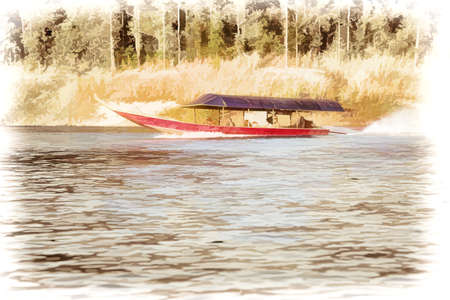 Illustration Digital painting Boat on the lake for tourists in Chiang Mai, Thailand