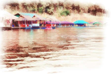Illustration Digital painting Houseboat floating on the lake for tourists in Chiang Mai, Thailand