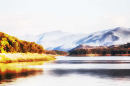 Illustration Digital painting Lake view from the construction of Mae Ngad Dam, Chiang Mai Province Standard-Bild