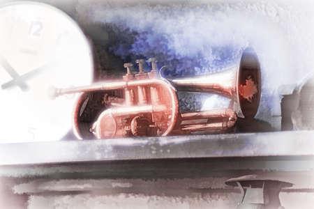 Illustration Digital painting Cornet brass vintage style