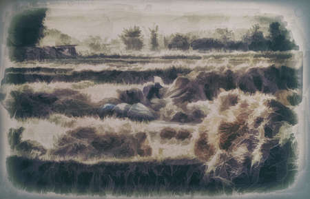 Digital painting,Old painting: Farmer picking straw after harvesting,on canvas