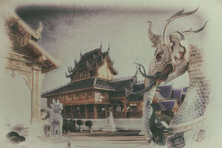 Digital painting, Old painting of a buddhist temple in northern thailand on  canvas