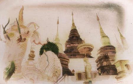 Digital painting,Old painting , buddhist pagoda in northern thailand Standard-Bild